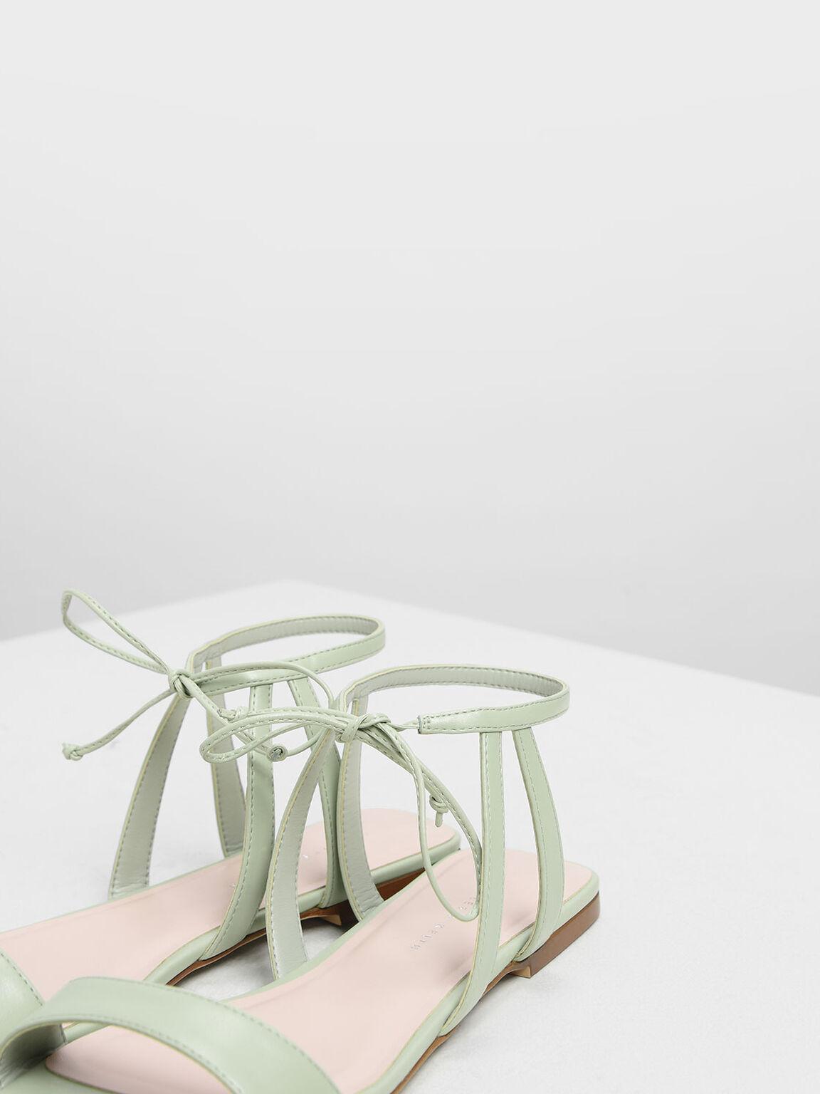 Tie Front Open Toe Sandals, Green, hi-res