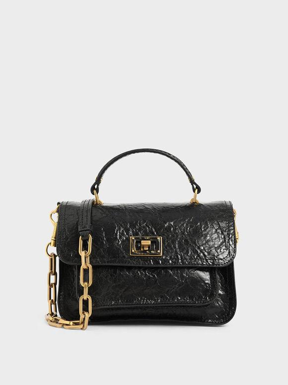 Wrinkled Effect Handbag, Black, hi-res