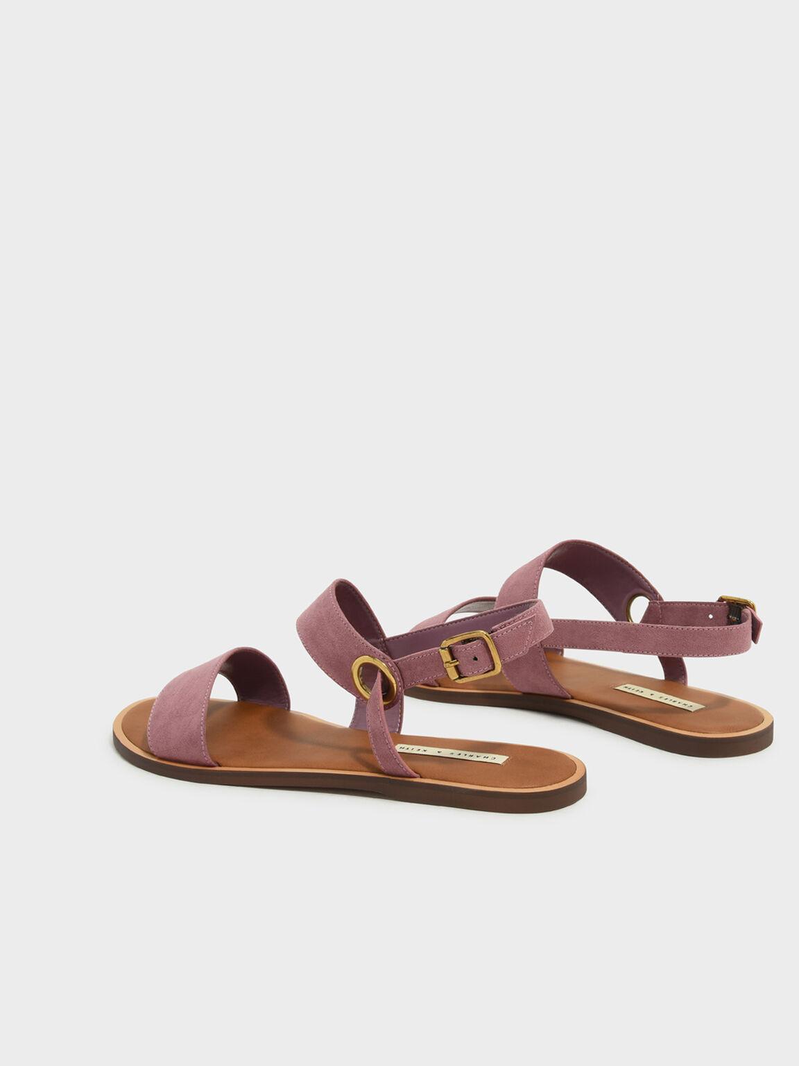 Asymmetrical Sling Back Sandals, Pink, hi-res