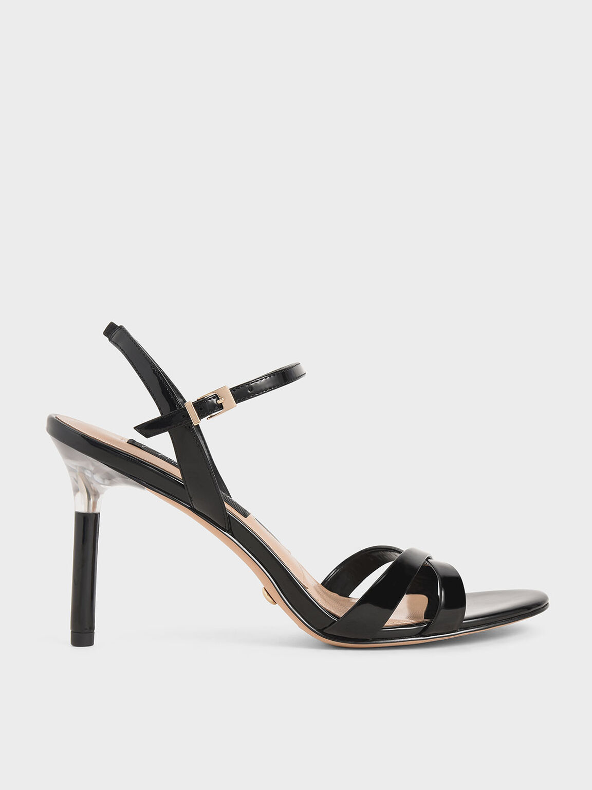 Patent Leather Criss-Cross Heels, Black, hi-res