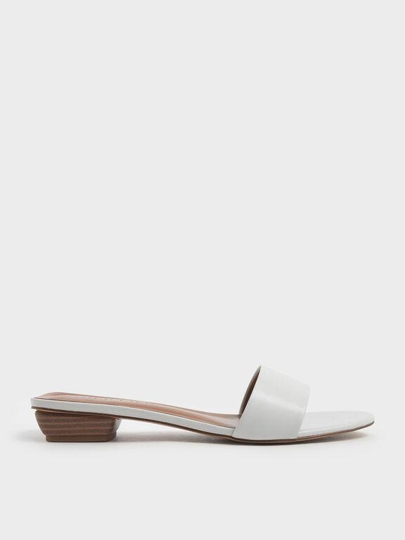 Stacked Heel Slide Sandals, White, hi-res