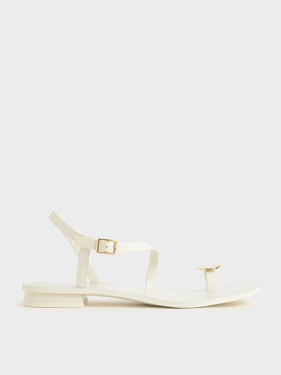 Metal Accent Toe Loop Sandals, Cream, hi-res