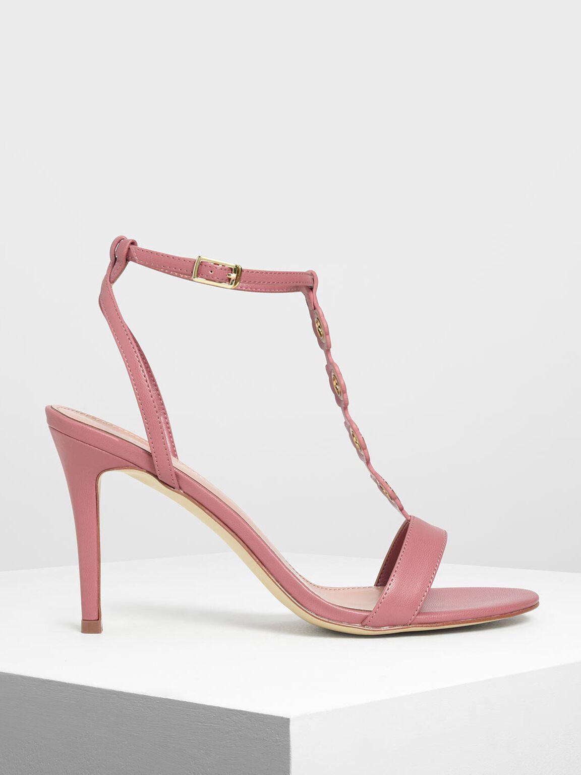 Floral Eyelet Heeled Sandals, Coral Pink, hi-res