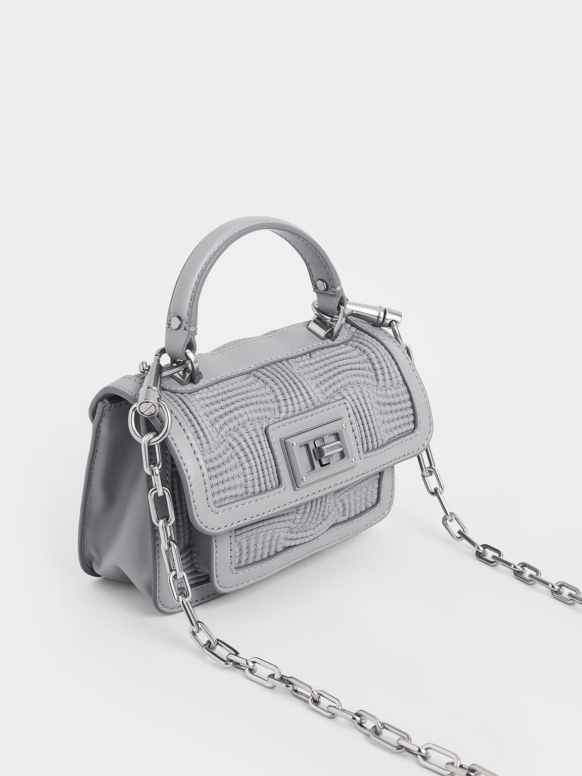 Textured Mini Bag, Grey, hi-res