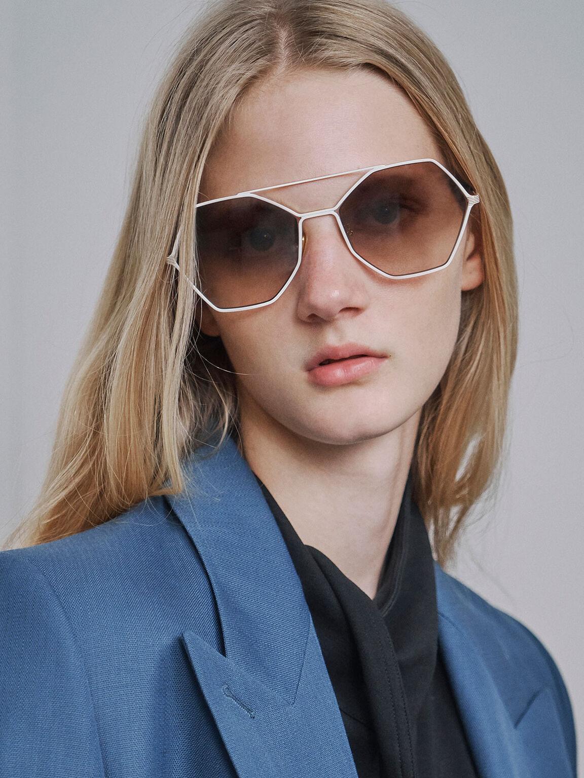 Gradient Tint Geometric Sunglasses, Cream, hi-res