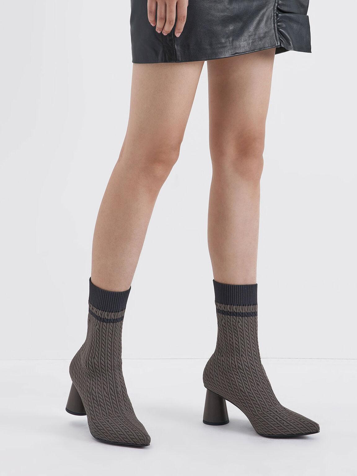 圓柱跟針織襪靴, 深灰色, hi-res