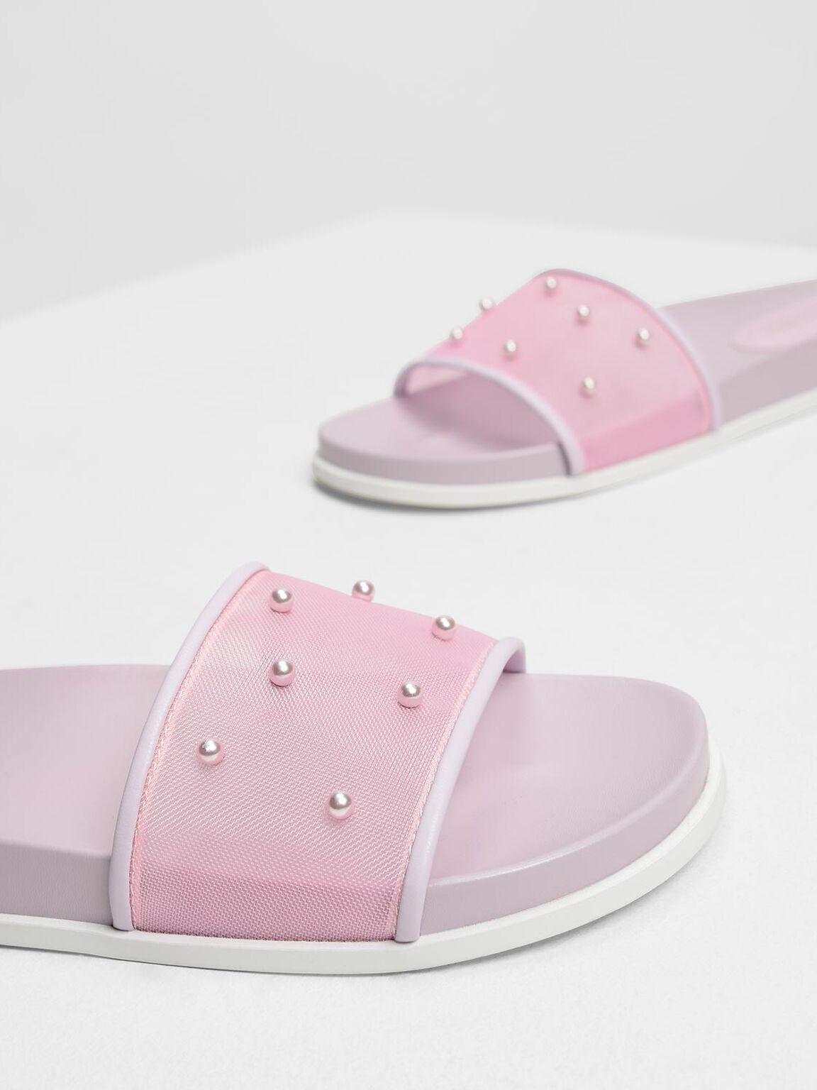Pearl Embellished Sliders, Lilac, hi-res