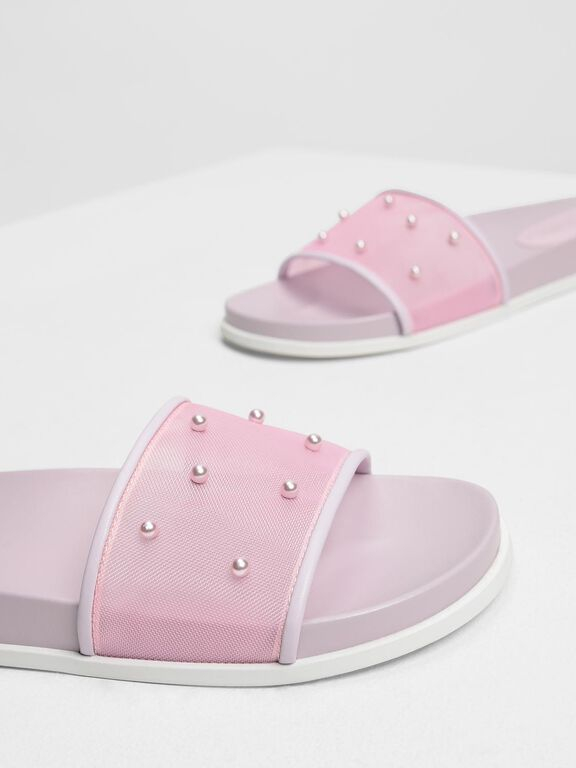 Pearl Embellished Sliders, Lilac