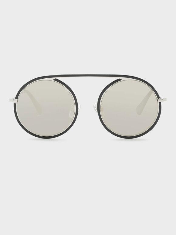 Acetate Round Frame Shades, Black, hi-res