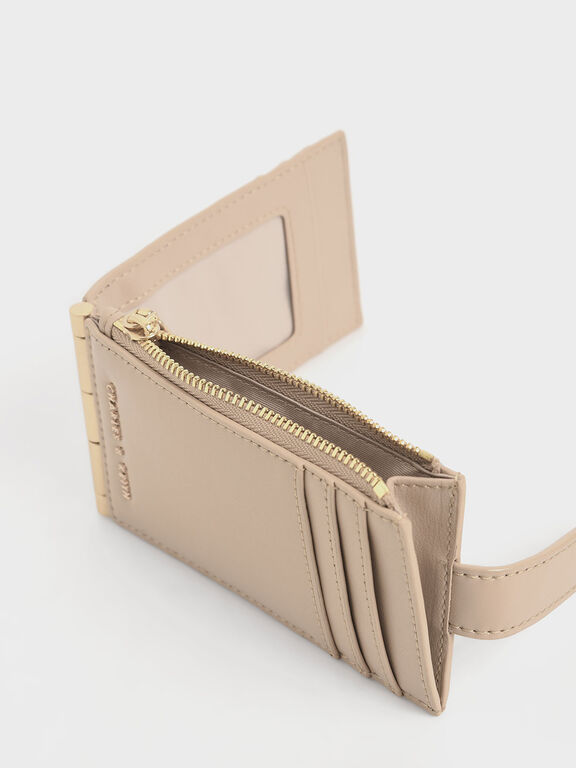 Thin Front Flap Card Holder, Beige