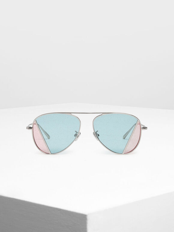 Two-Tone Aviator Sunglasses, Multi, hi-res