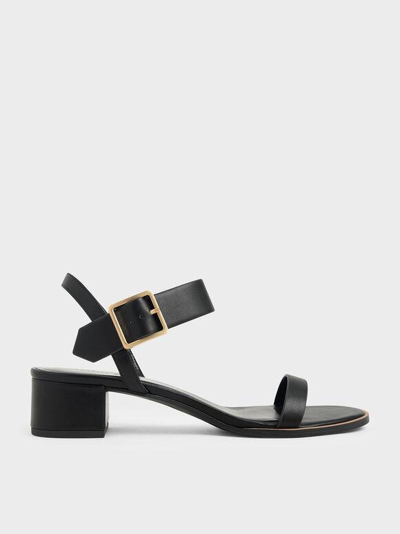 Frame Buckle Block Heel Sandals, Black, hi-res