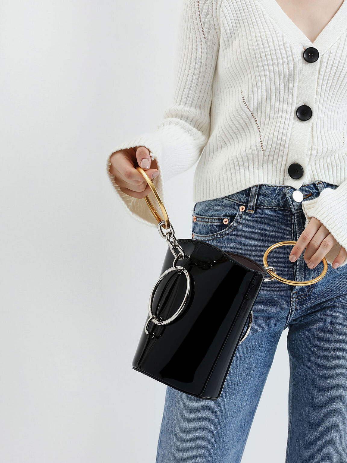 Patent Bracelet Bucket Bag, Black, hi-res