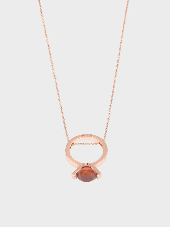 Red Jasper Stone Ring Matinee Necklace, Rose Gold, hi-res