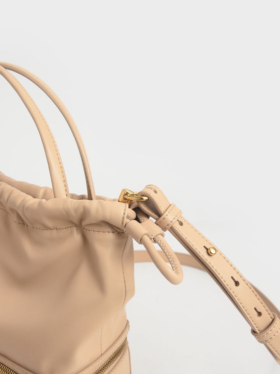 Two-Way Zip Drawstring Bag, Beige, hi-res