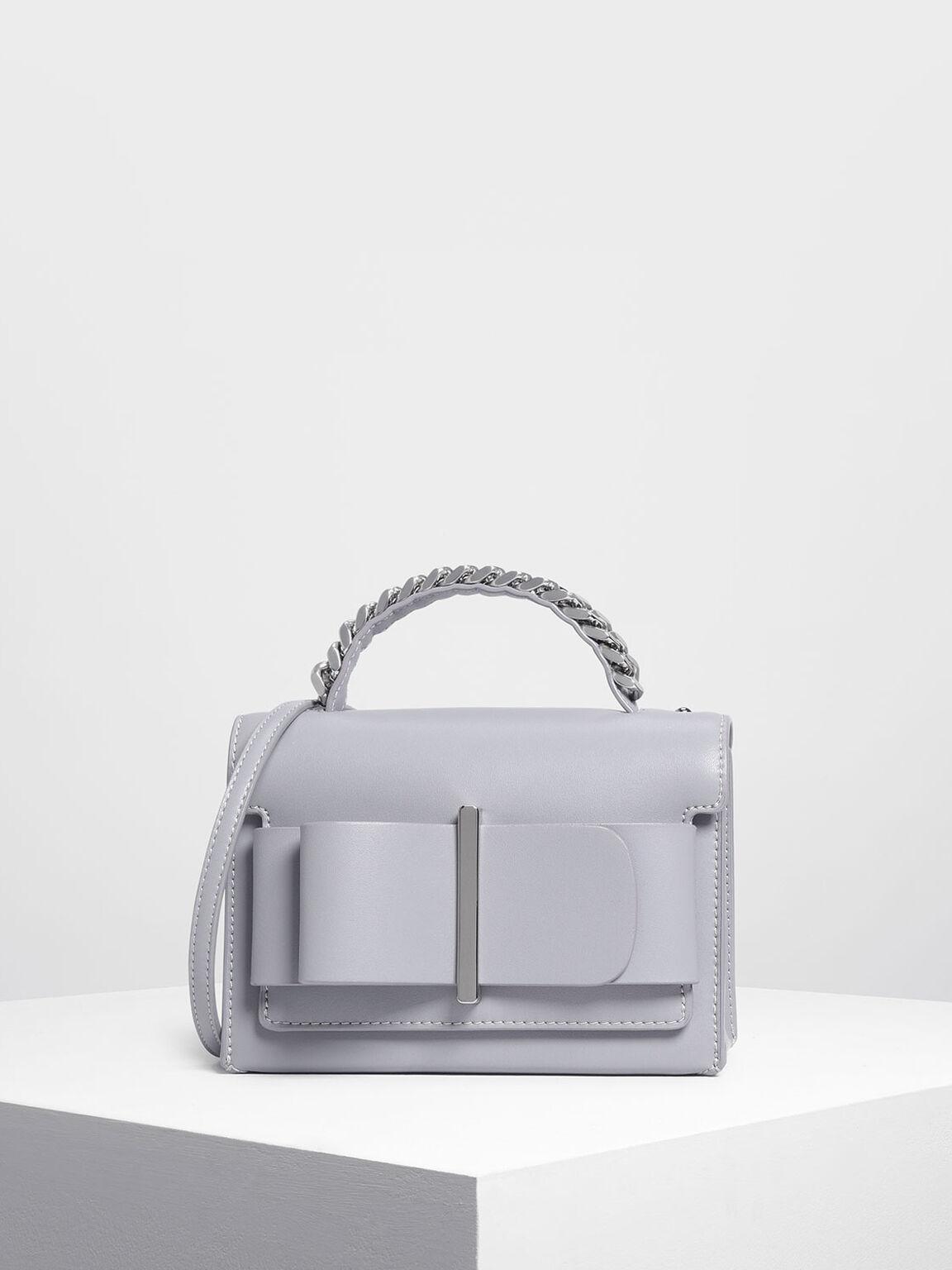 Lilac Grey Bow Detail Handbag
