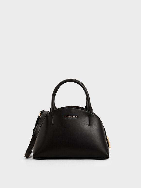 Top Handle Dome Bag, Black, hi-res
