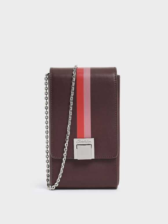 Striped Elongated Leather Crossbody Bag, Prune, hi-res