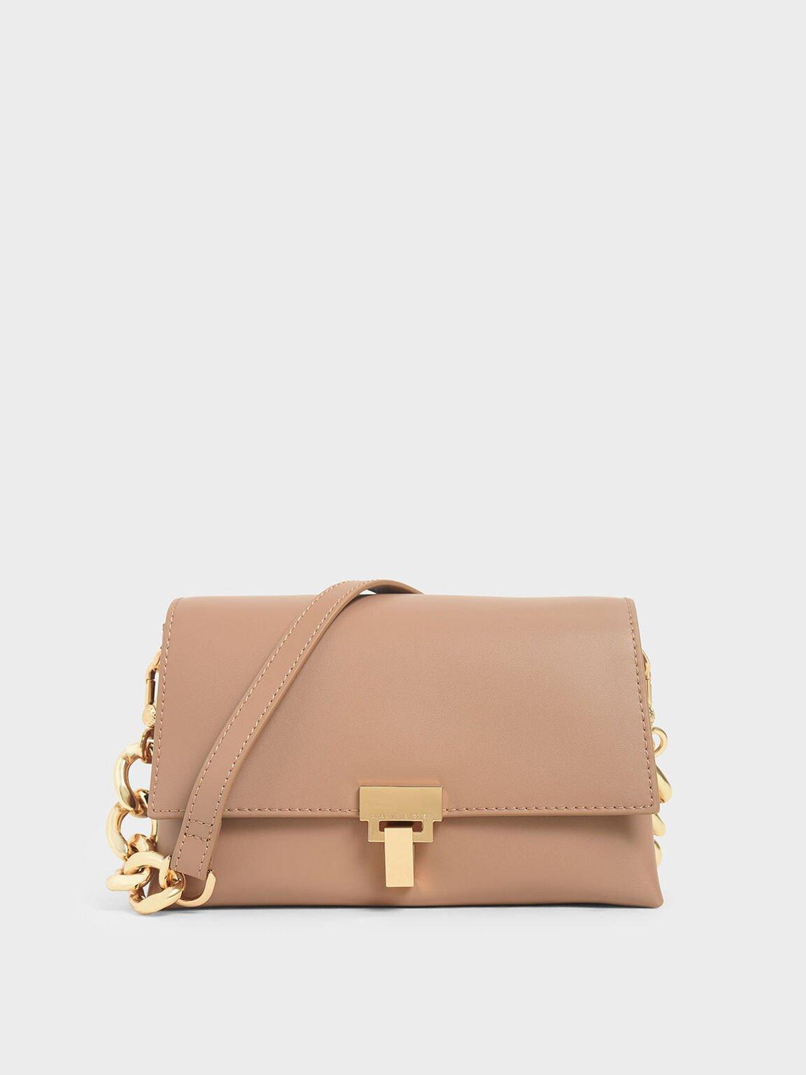 Leather Chain Strap Shoulder Bag, Nude, hi-res
