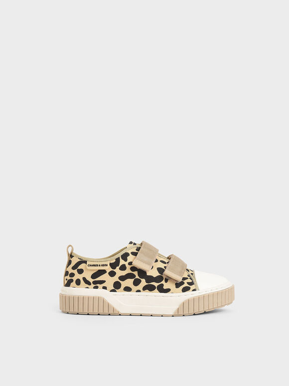 The Purpose Collection - Girls' Leopard Print Low-Top Sneakers, Beige, hi-res
