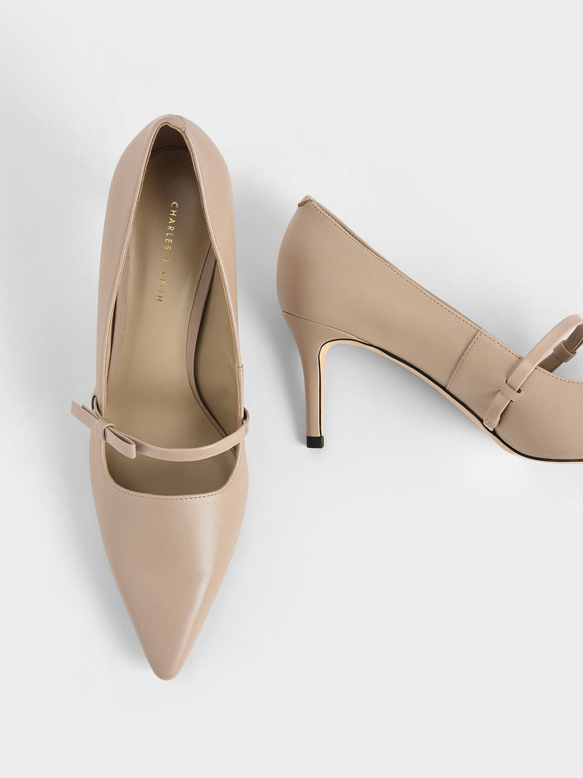 Mary Jane Stiletto Heel Court Shoes, Beige, hi-res