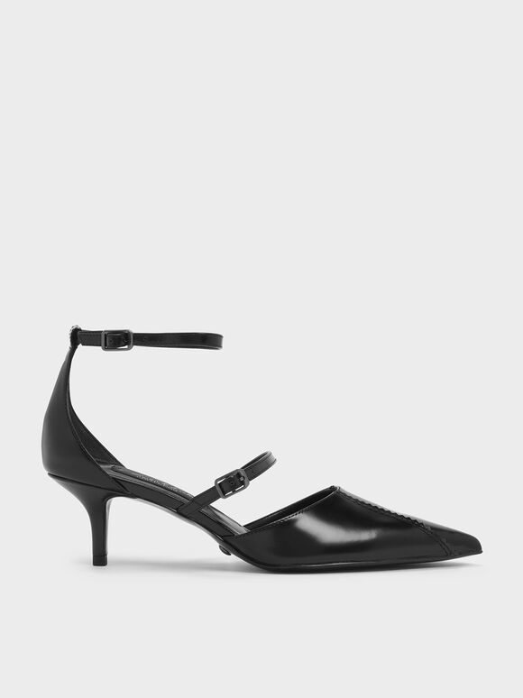 Zigzag Detail Leather Mary Jane Kitten Heels, Black, hi-res