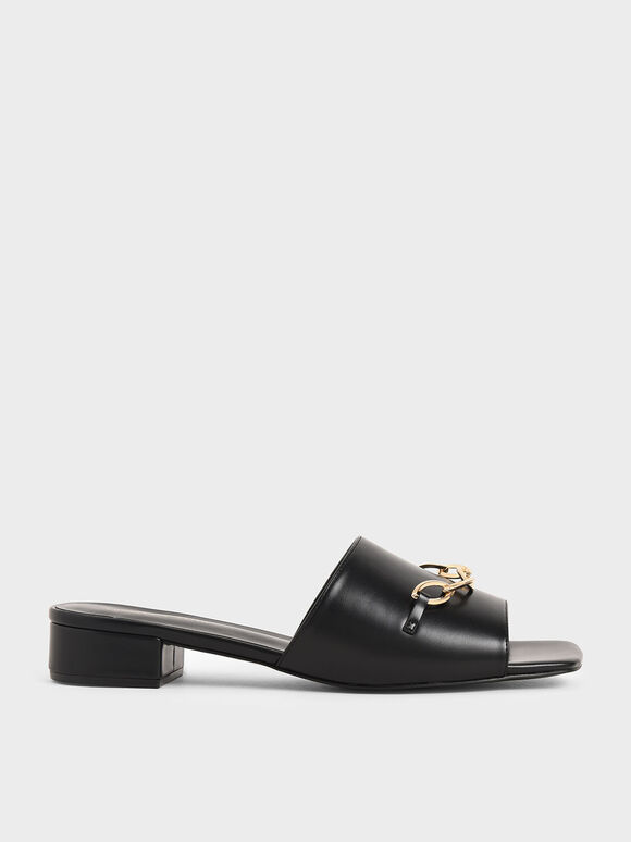 Chain Link Mules, Black, hi-res