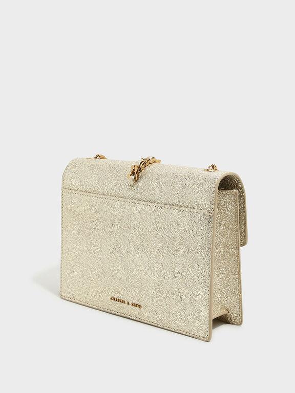 Tassel-Detail Envelope Bag, Gold, hi-res