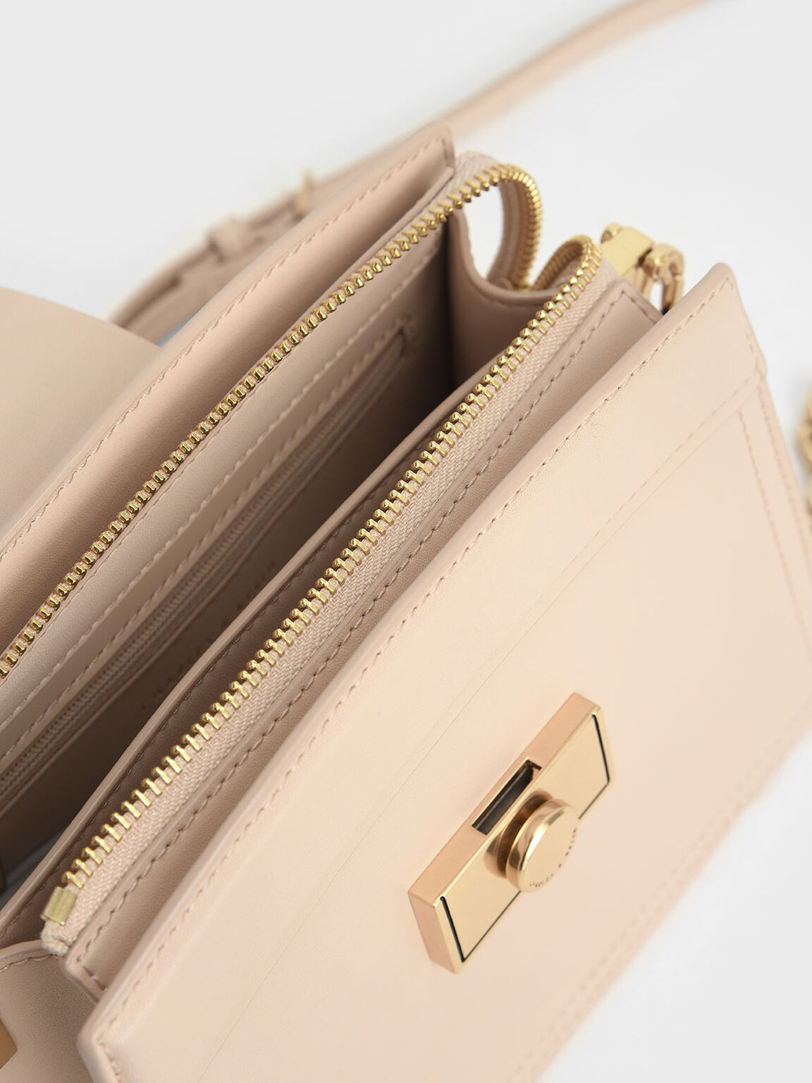 Metallic Push-Lock Shoulder Bag, Nude, hi-res