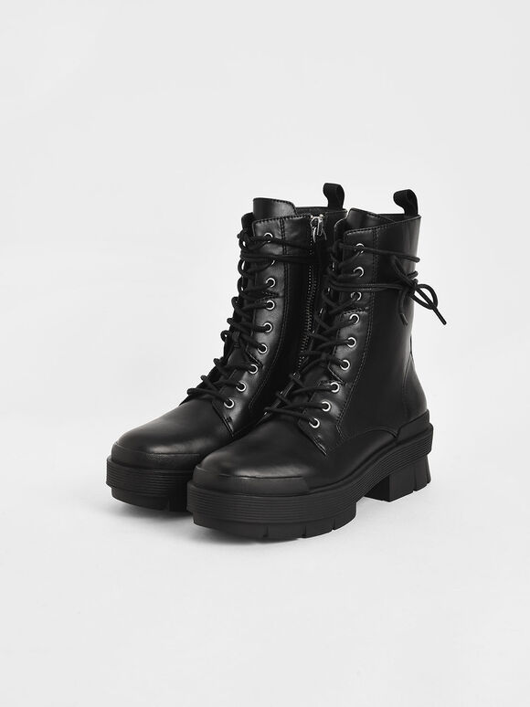 綁帶厚底中筒靴, 黑色, hi-res