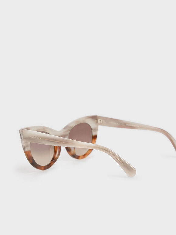 Tortoiseshell Thick Frame Cat-Eye Sunglasses, T. Shell, hi-res