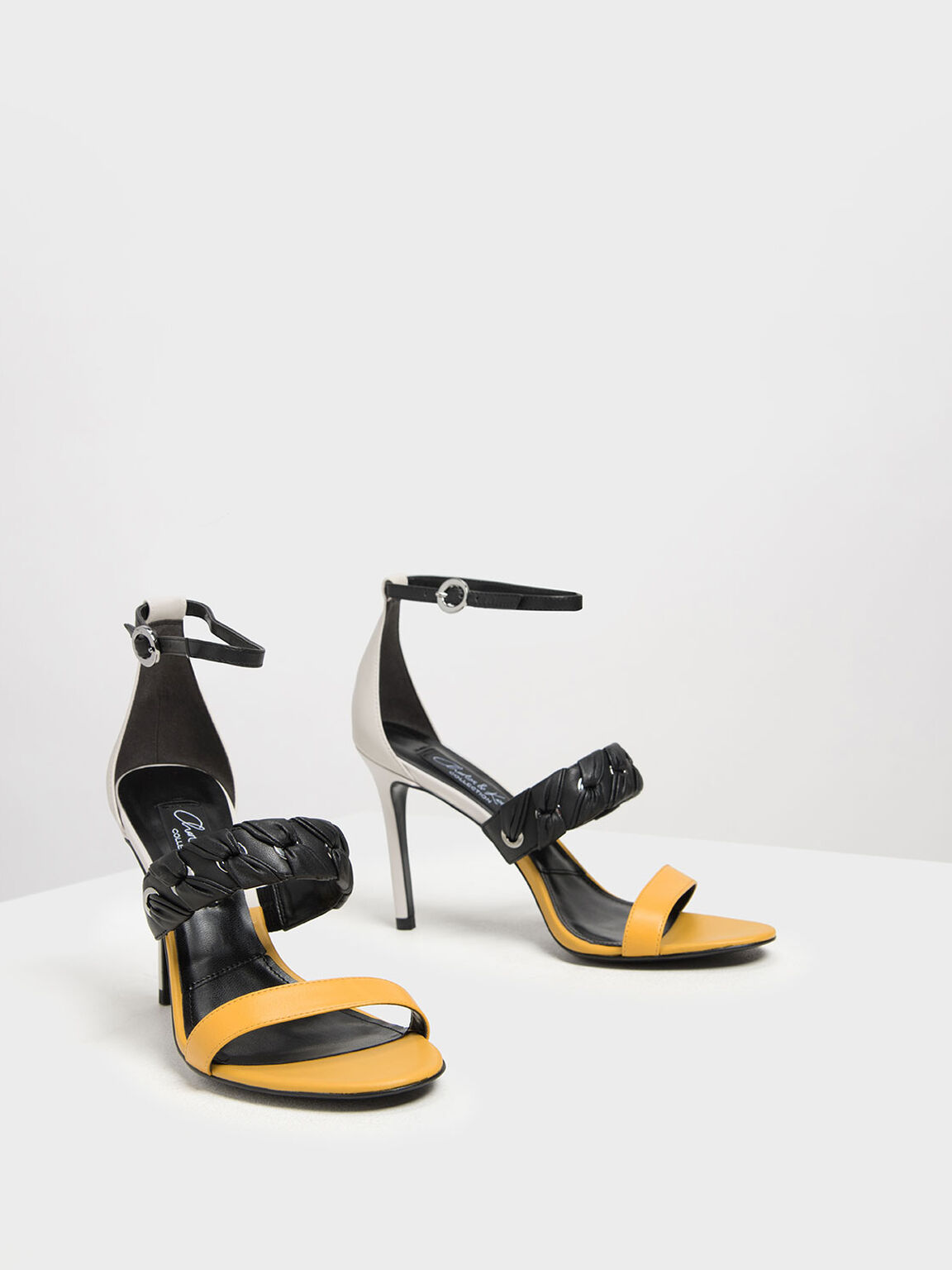 Weave Detail Leather Stiletto Heels, Yellow, hi-res
