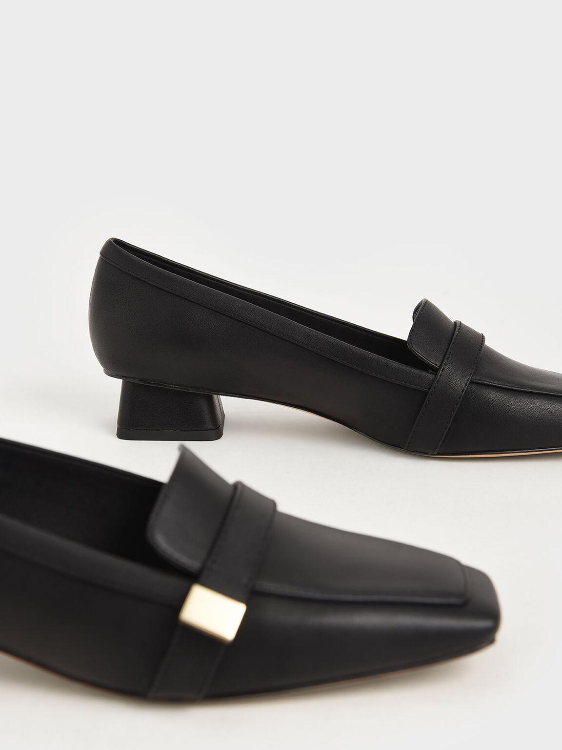 金釦方頭樂福鞋, 黑色, hi-res