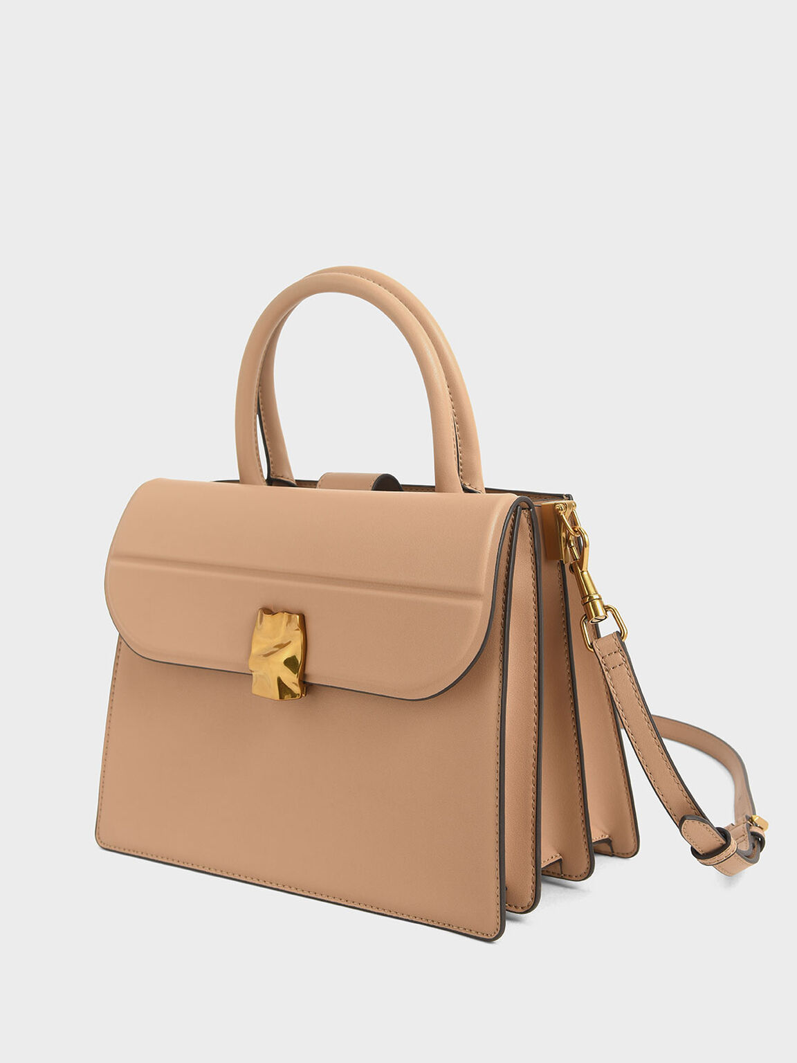 Structured Tote, Beige, hi-res