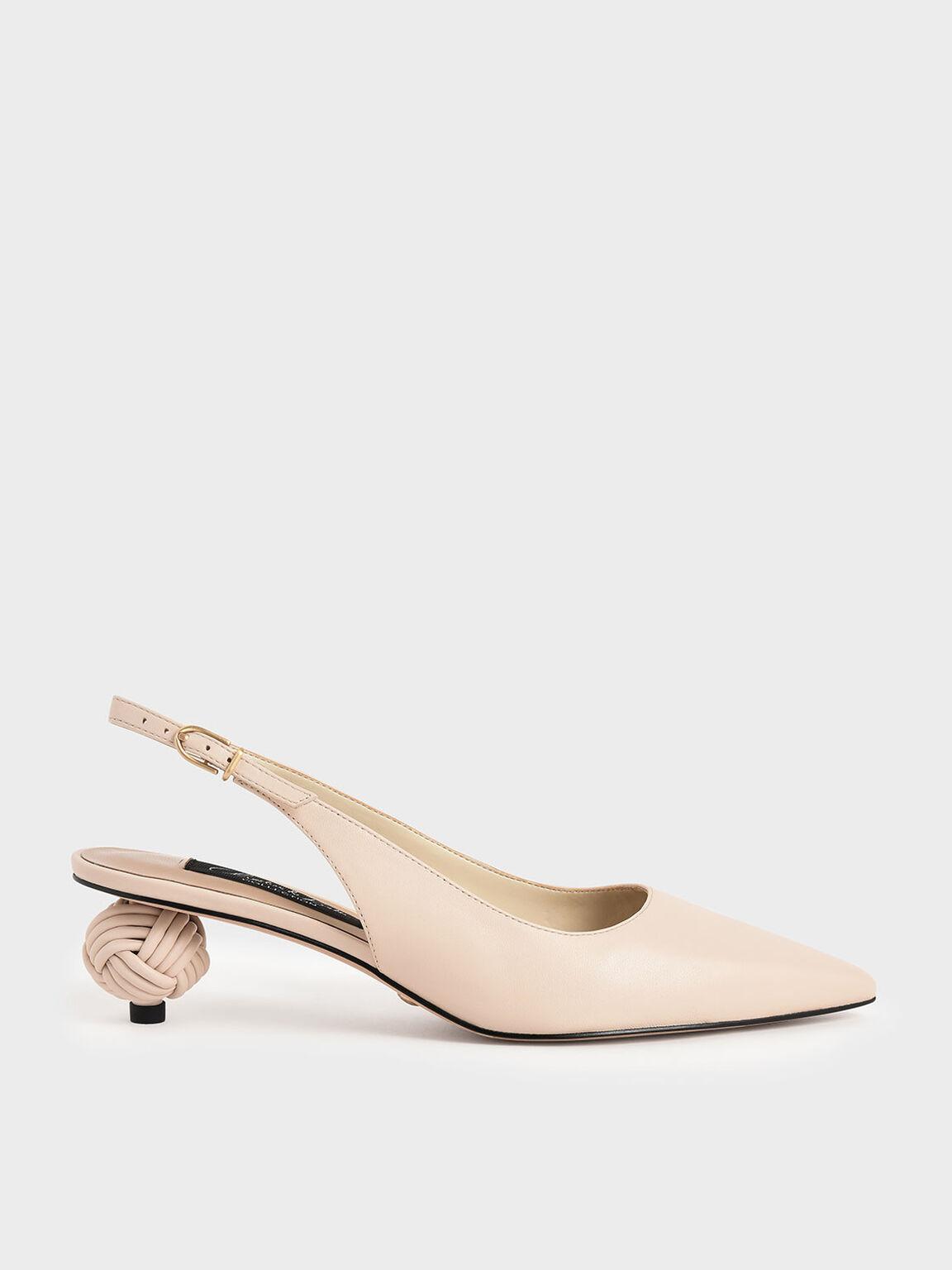真皮尖頭造型跟鞋, 石灰白, hi-res