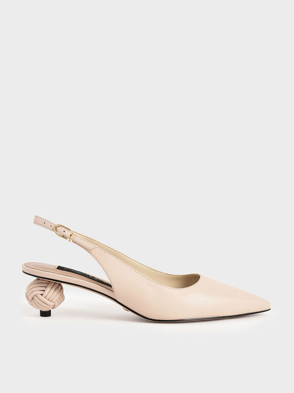 Leather Sculptural Heel Slingback Pumps, Chalk, hi-res