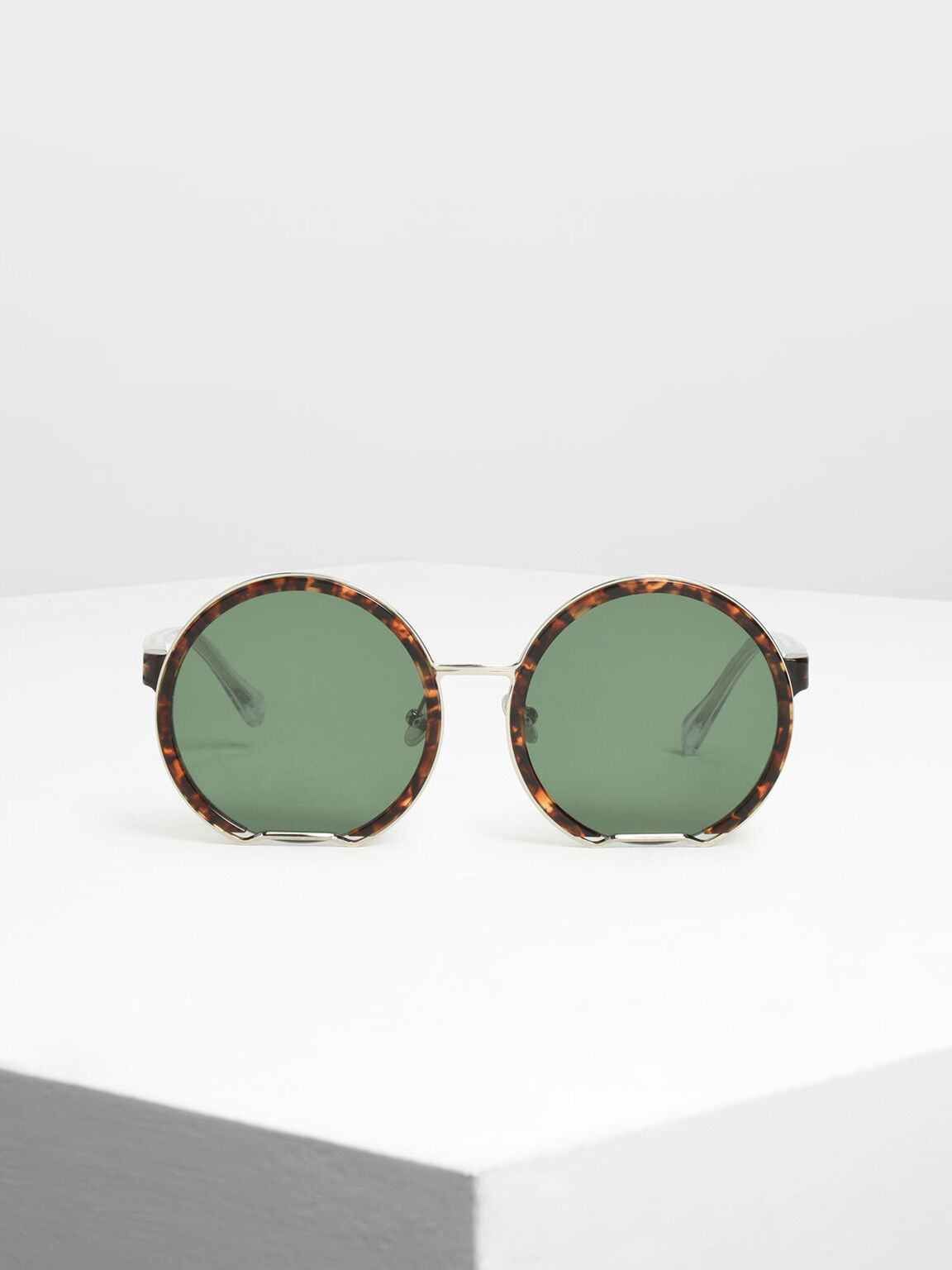 Cut Off Frame Round Sunglasses, T. Shell, hi-res