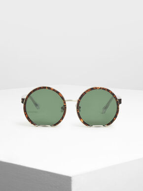Cut Off Frame Round Sunglasses, T. Shell