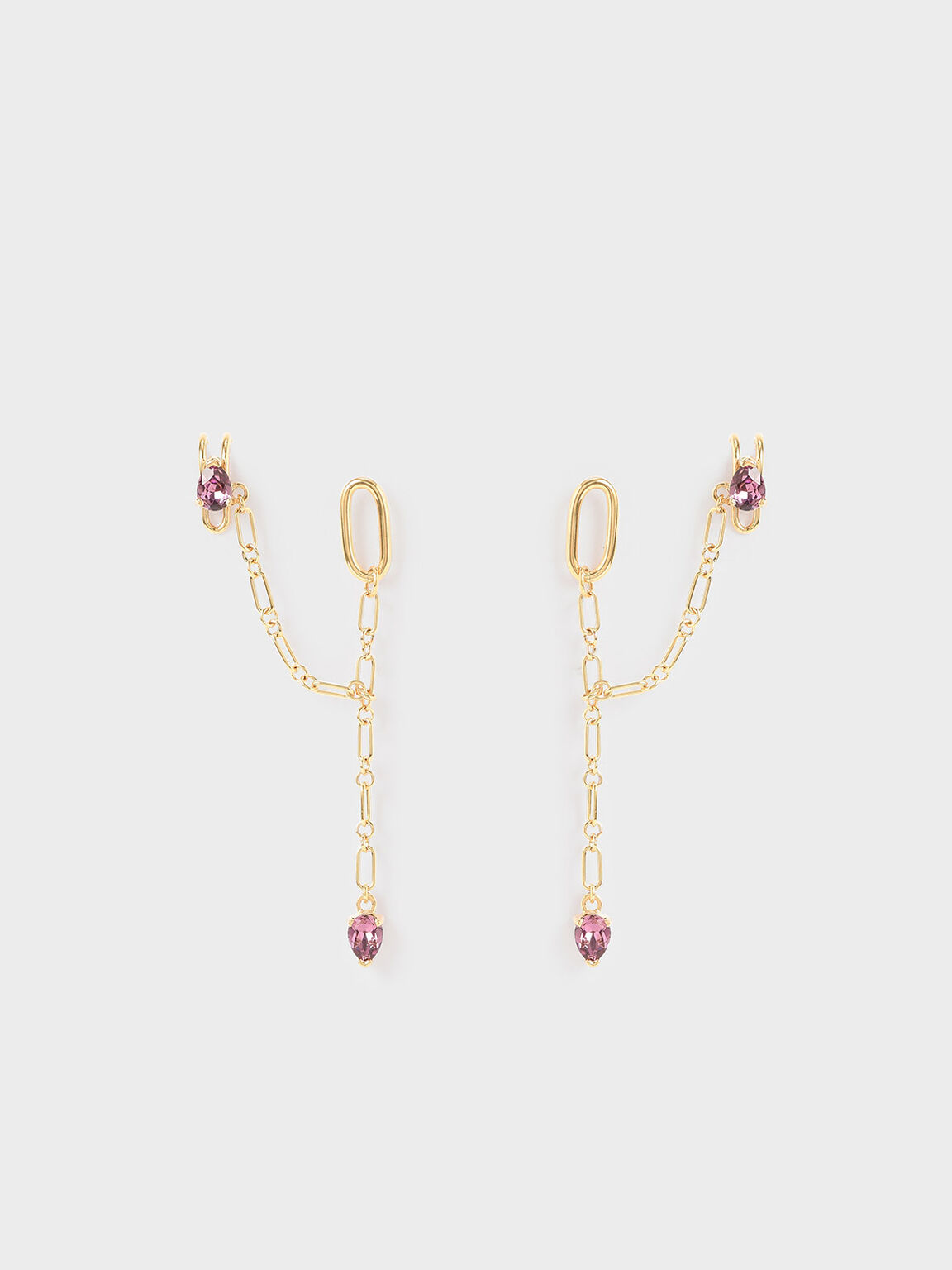 Crystal Embellished Ear Cuff Drop Earrings, Gold, hi-res