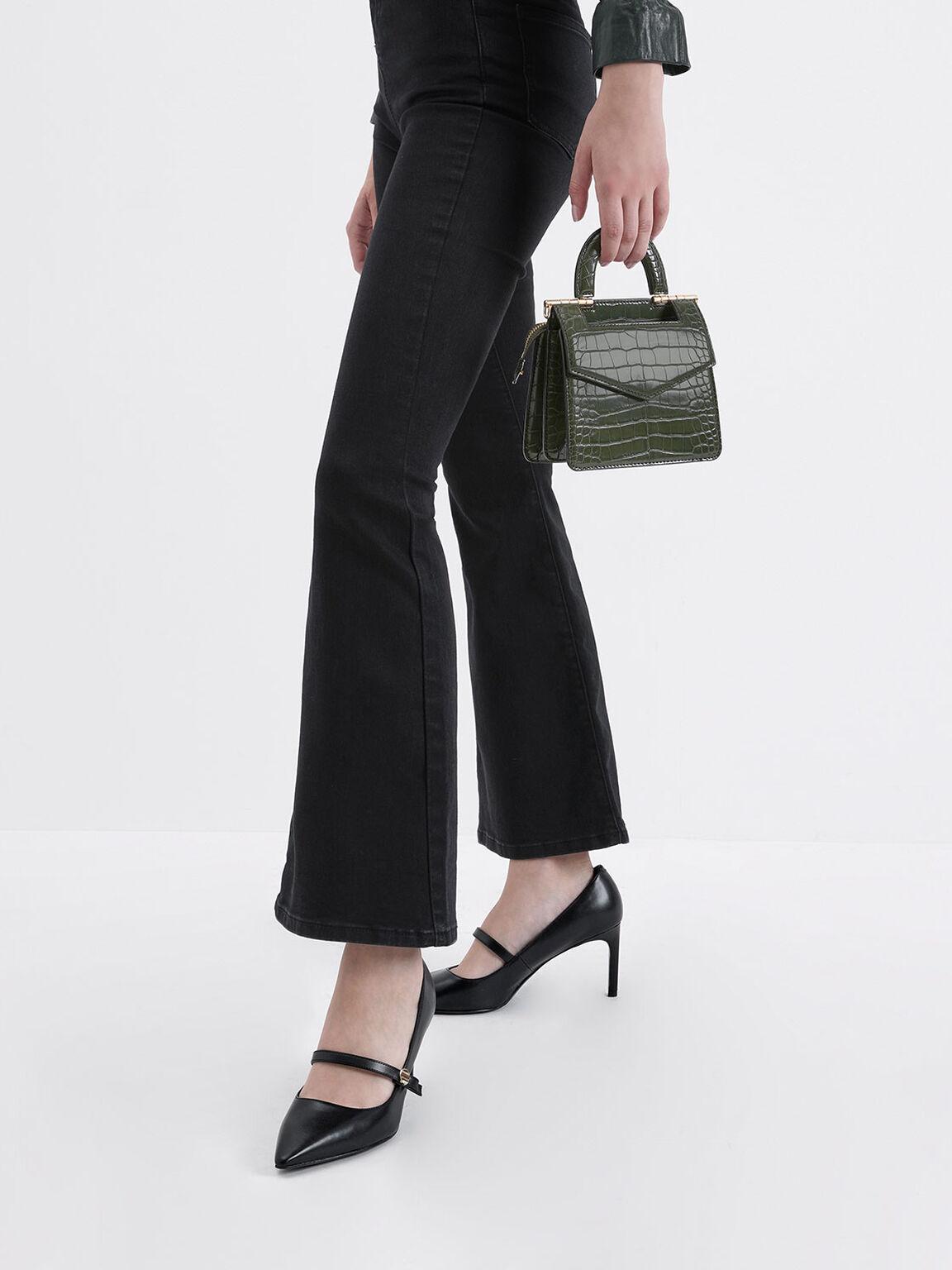 Mini Croc-Effect Envelope Bag, Olive, hi-res