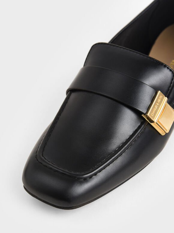 Metallic Buckle Penny Loafers, Black, hi-res