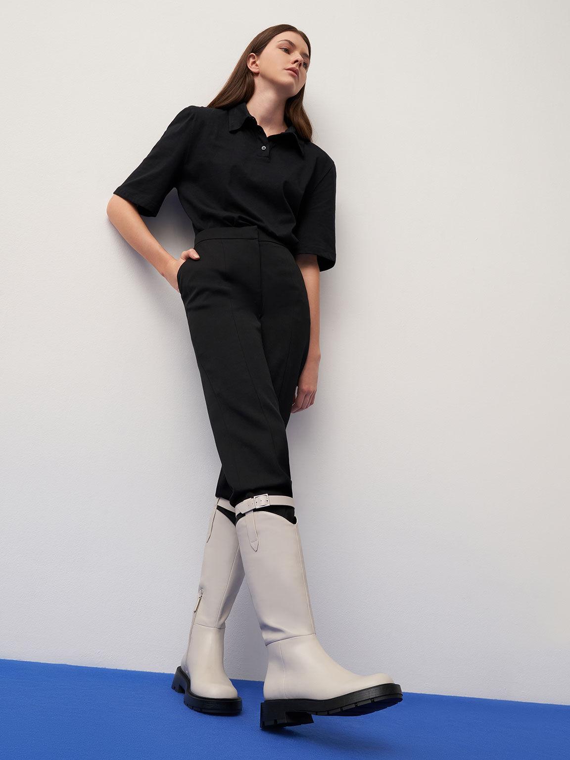 皮帶設計厚底長靴, 石灰白, hi-res