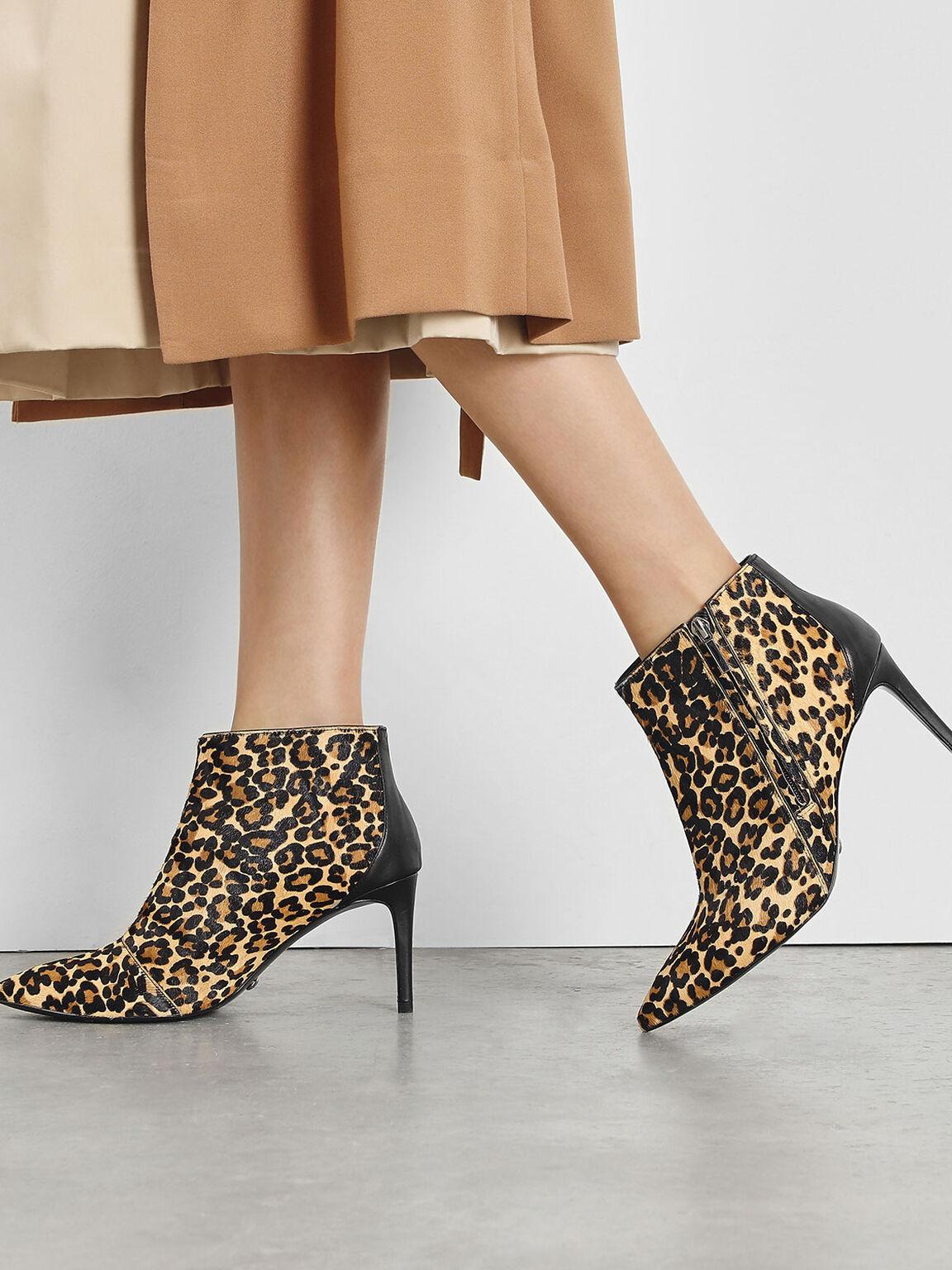 Pony Hair Leopard Print Boots, Multi, hi-res