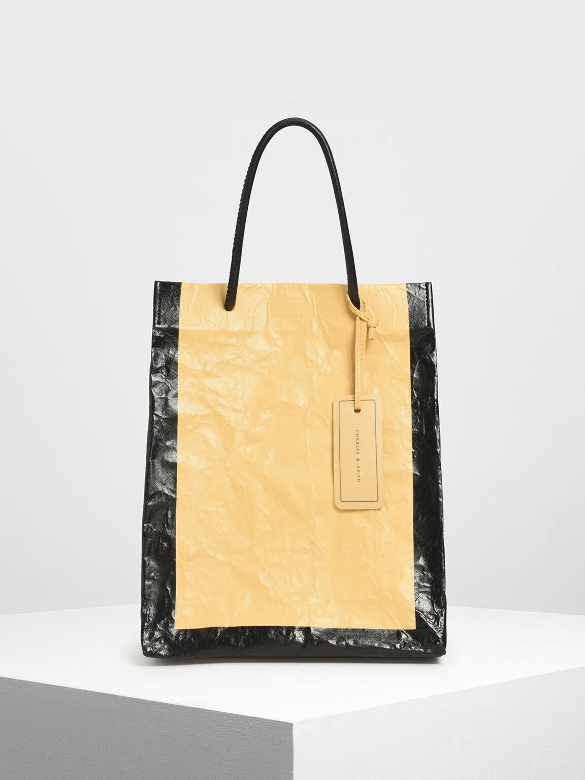 Crumpled Effect Tote Bag, Yellow, hi-res