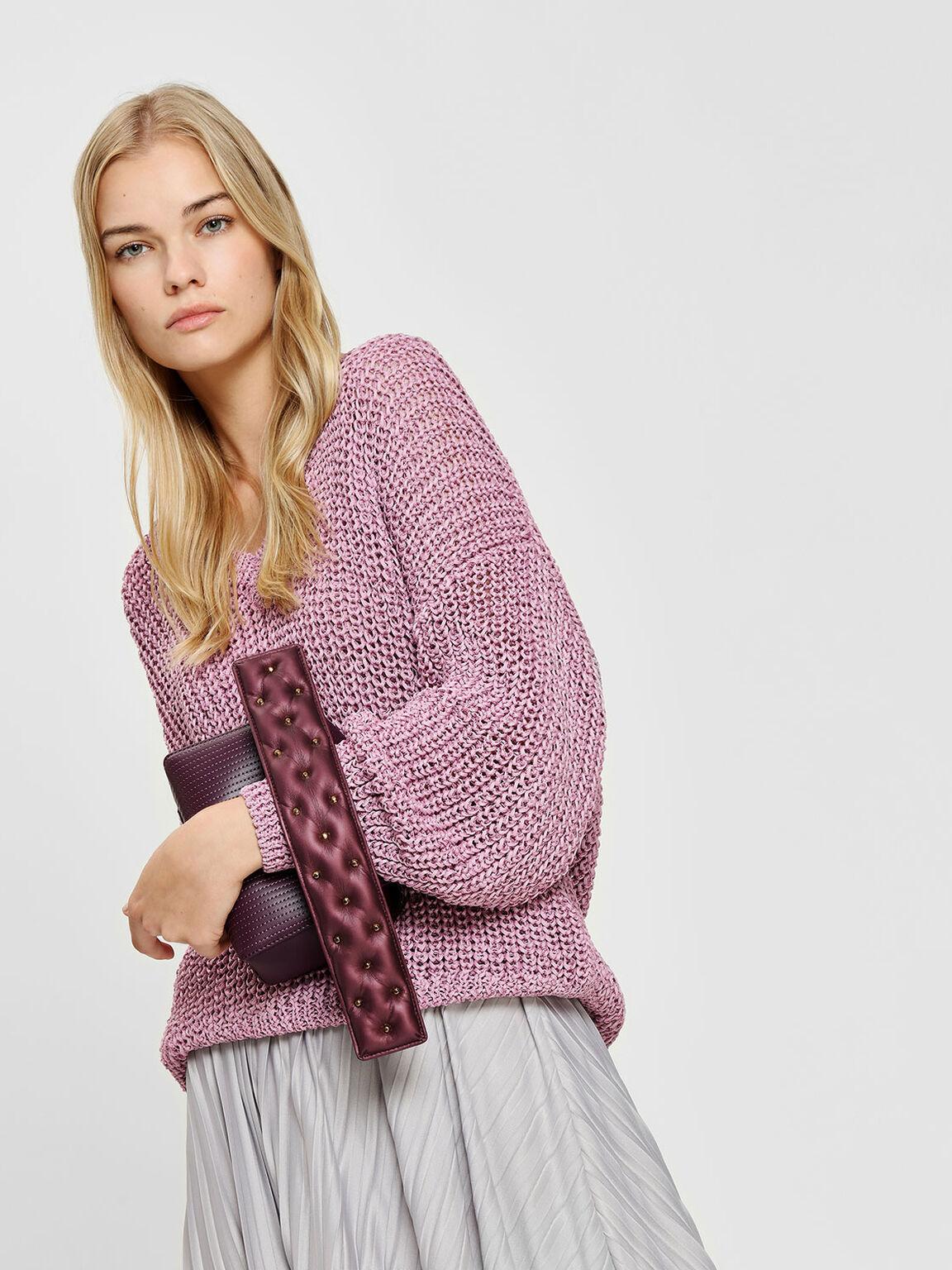 鉚釘短版背帶, 深紫紅, hi-res
