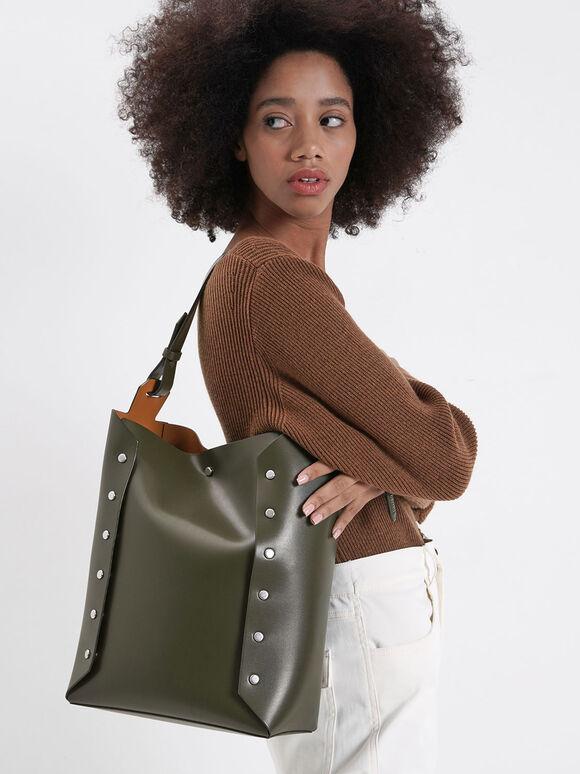 Large Reversible Studded Tote Bag, Olive, hi-res