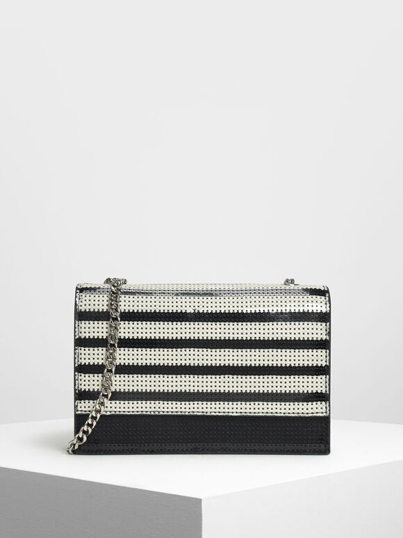 Sequin Evening Bag, Black, hi-res