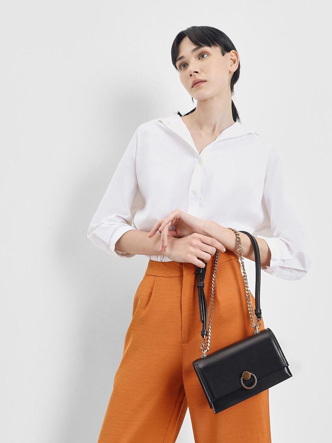 Chain & Strap Push Lock Shoulder Bag, Black, hi-res