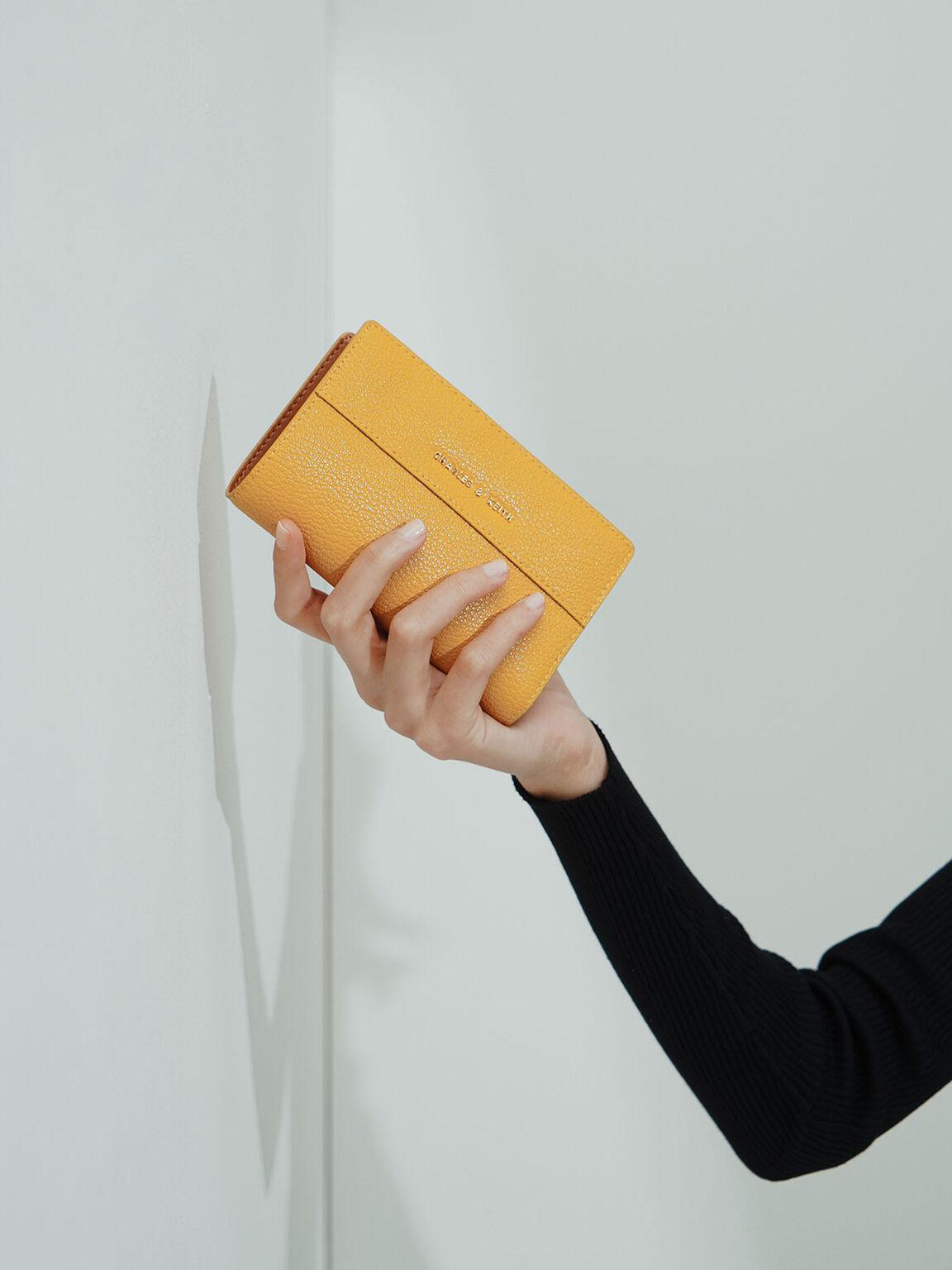 壓扣式皮夾, 黃色, hi-res