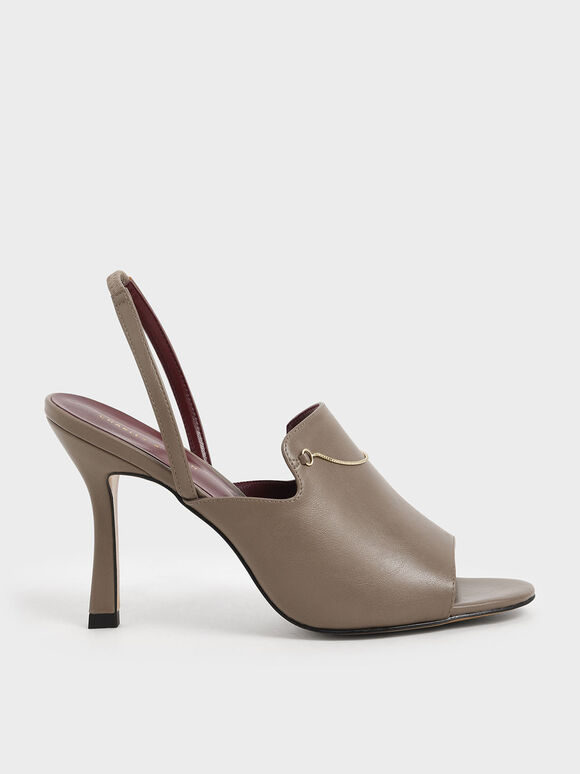 Chain Link Slingback Heels, Taupe, hi-res